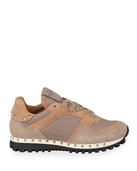 Rockstud Nylon & Suede Sneaker, Poudre
