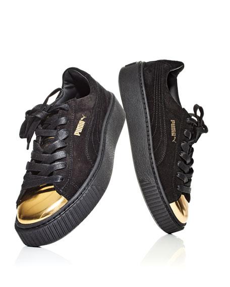 Puma Basket Suede Cap Toe Creeper, GoldBlack | Shoes, Cap