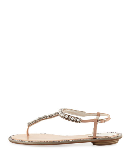 Pearly Flat Thong Sandal, Nude