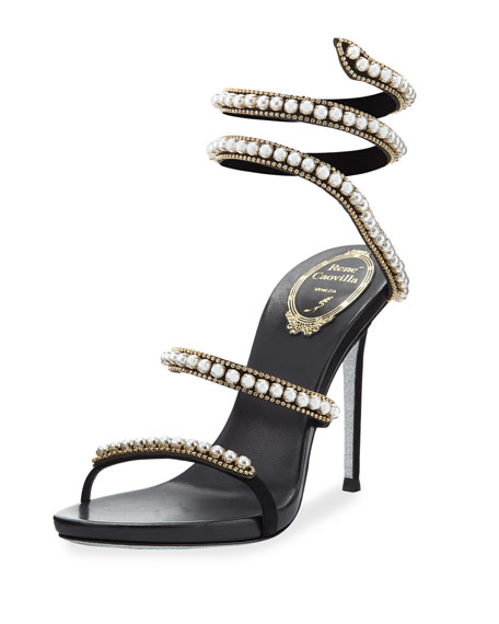 Rene Caovilla Pearly & Crystal Snake 105mm Sandal,