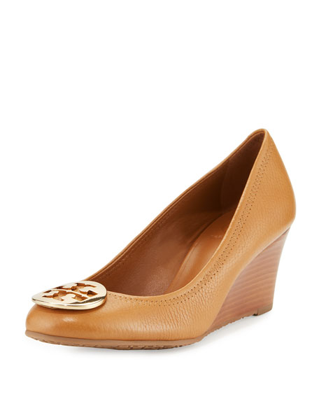 Sally Logo Wedge Pump, Royal Tan/Gold
