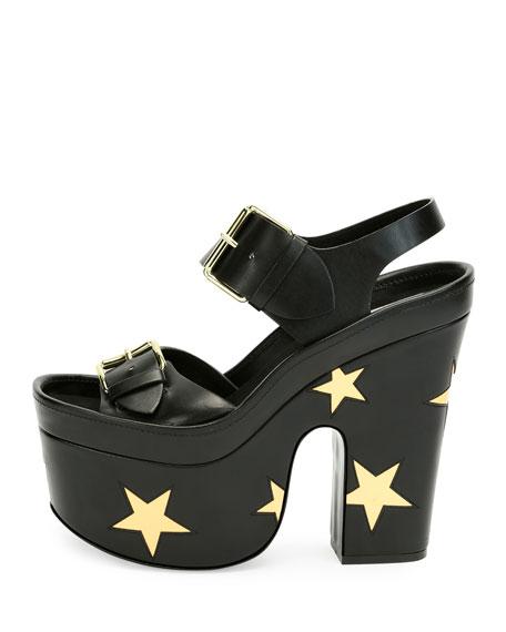 Buckle Star Platform Sandal, Black