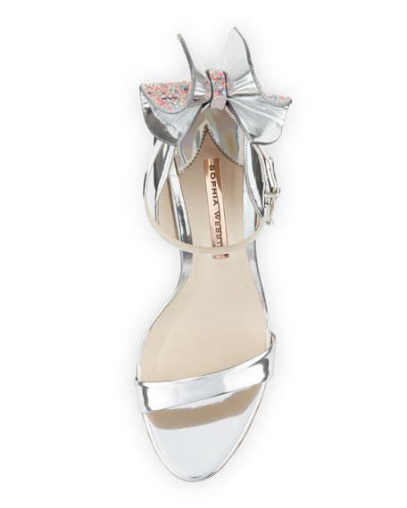 Maya Bow Metallic 115mm Sandal, Silver
