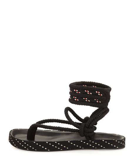 Epipa Flat Rope Thong Sandals, Black