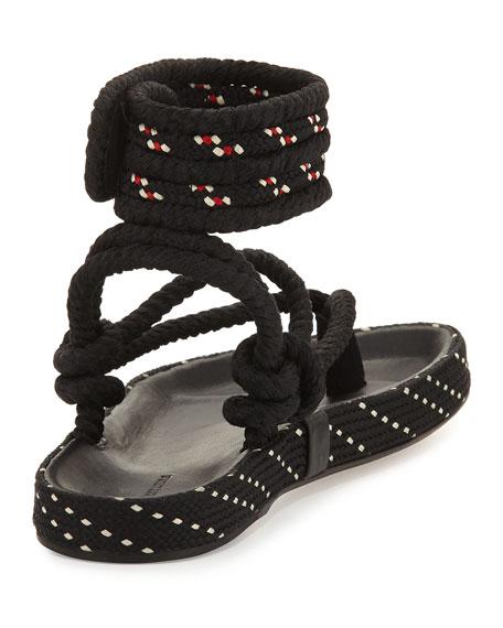 Epipa Flat Rope Thong Sandals, Black