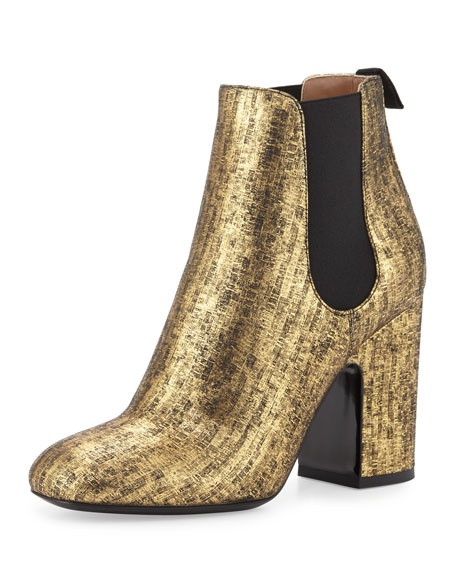 Mila Metallic 100mm Chelsea Boot, Black/Gold