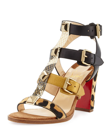 Christian Louboutin Rocknbuckle Caged 85mm Red Sole Sandal,