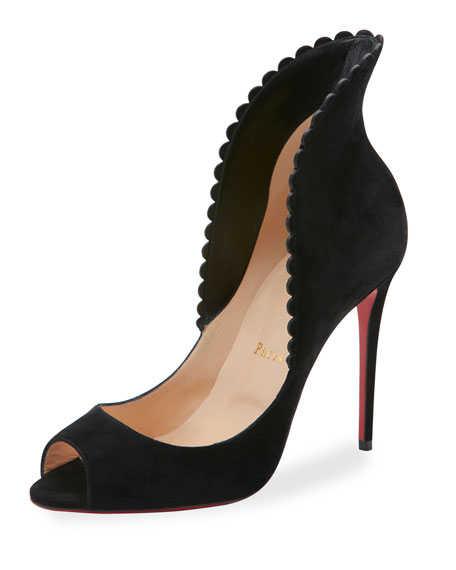 Pijonina Scalloped 100mm Red Sole Pump, Black