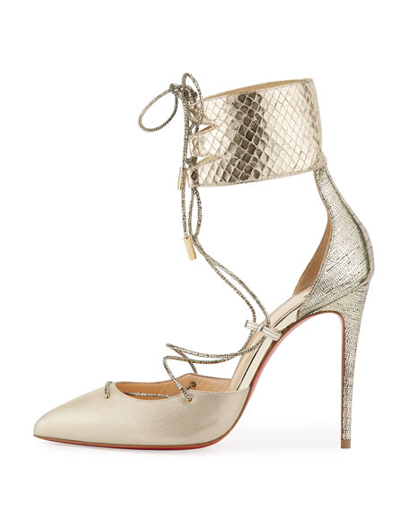 Corsankle Lace-Up 100mm Red Sole Pump, Gold