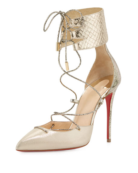 Christian Louboutin Corsankle Lace-Up 100mm Red Sole Pump,