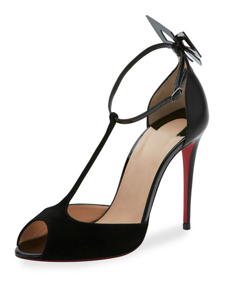 Christian Louboutin Aribak T-Strap 100mm Red Sole Pump,
