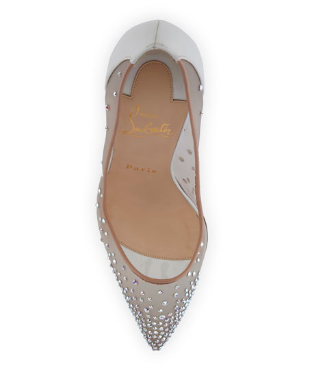 Follies Strass 100mm Red Sole Pump, White/Nude
