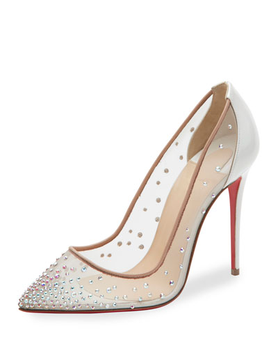 christian louboutin clear ankle strap pumps