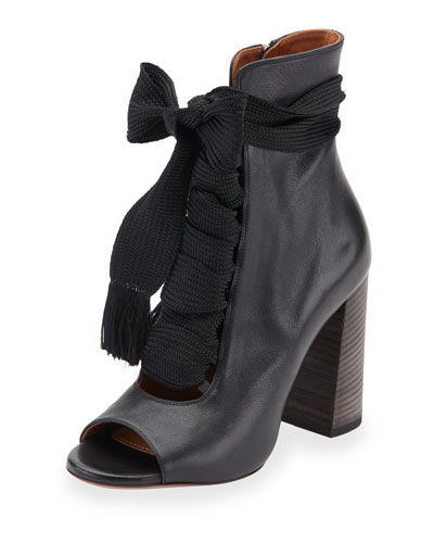 Open-Toe Leather Lace-Up 70mm Ankle Boot, Black