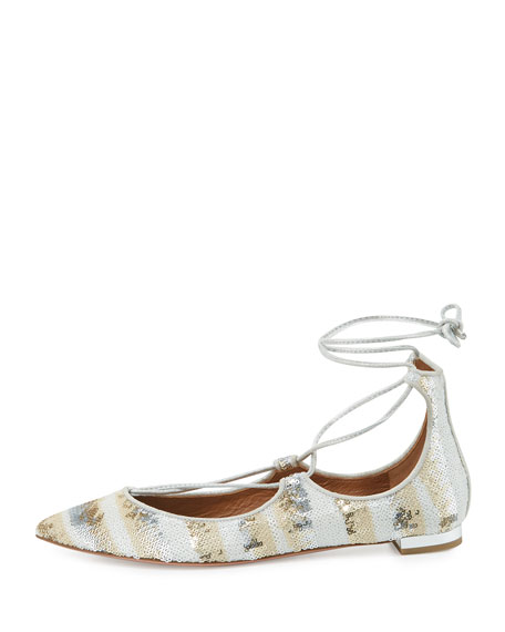 Christy Sequined Lace-Up Pointed-Toe Flat, Beige
