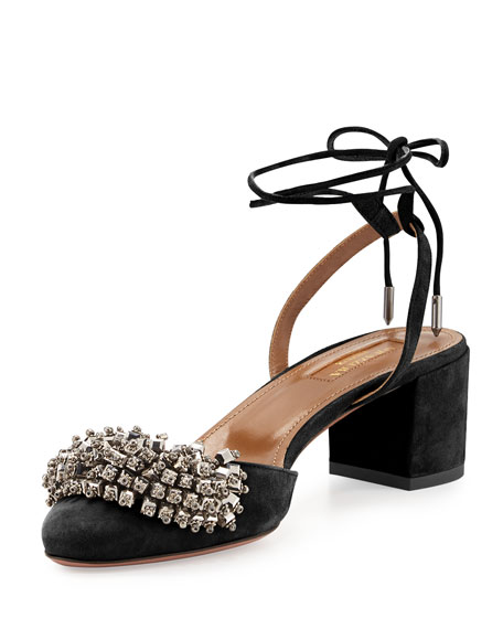 Aquazzura Monaco Beaded Suede 50mm Pump, Black