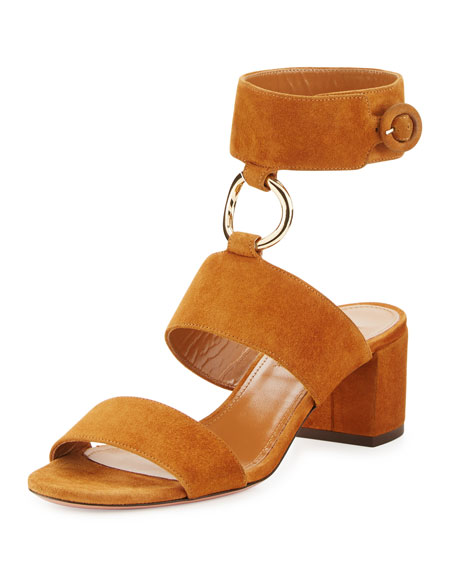 Aquazzura Safari Suede 50mm Sandal, Cognac