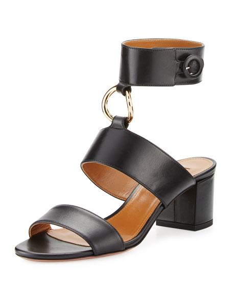 Aquazzura Safari Leather 50mm Sandal, Black