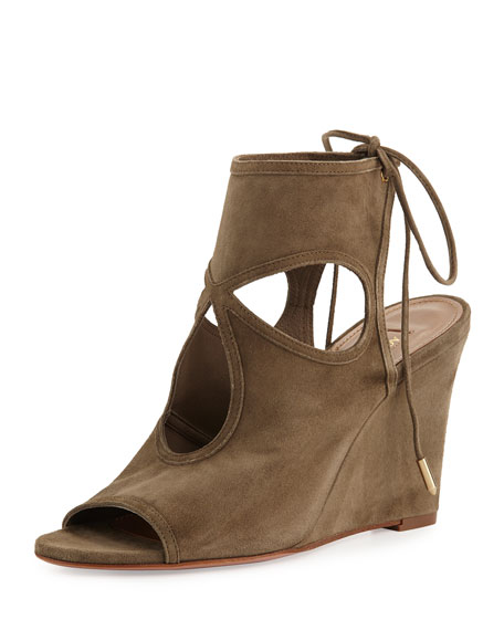 Aquazzura Sexy Thing Suede 85mm Wedge Sandal, Truffle