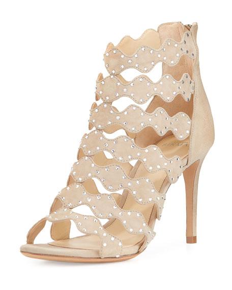 Alexandre Birman Donata Crystal Suede 90mm Sandal, Soft