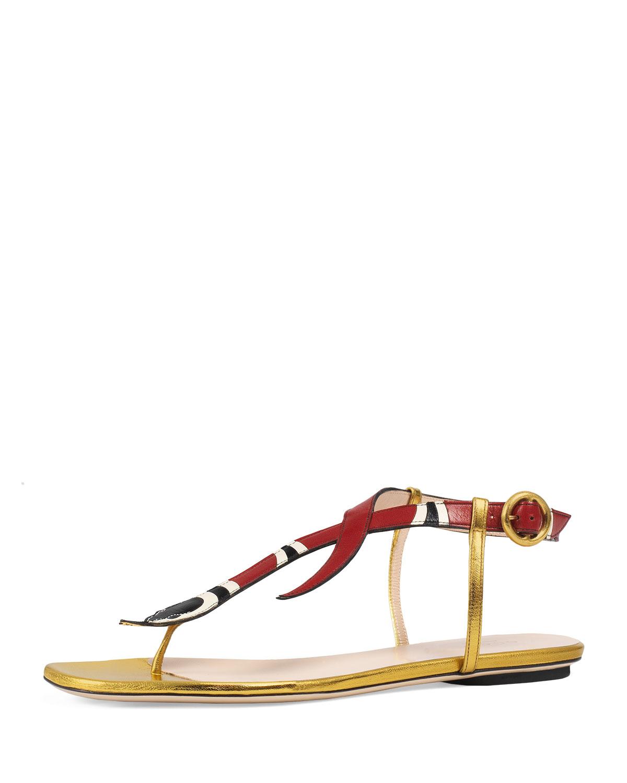 5a70e53c4 Gucci Yoko Snake-Print T-Strap Sandal | Neiman Marcus