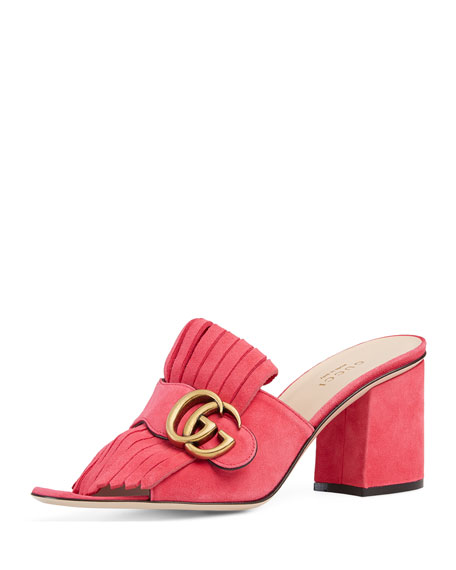Gucci Marmont Suede 75mm Mule, Pink