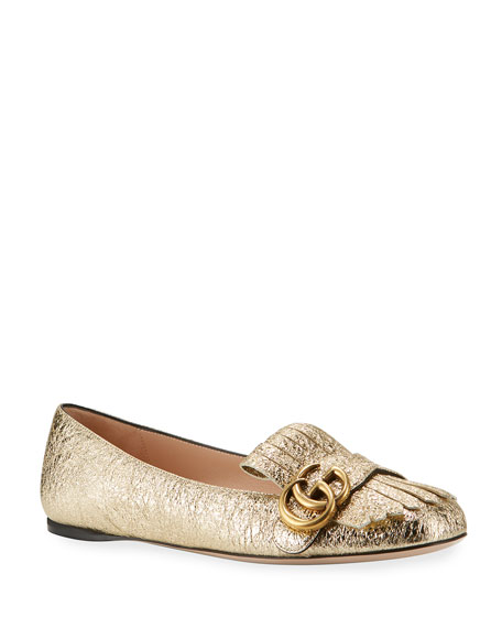 Gucci Marmont Fringe Leather Ballerina Flat, Gold