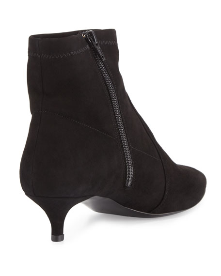 Beata Suede Kitten-Heel Bootie, Black