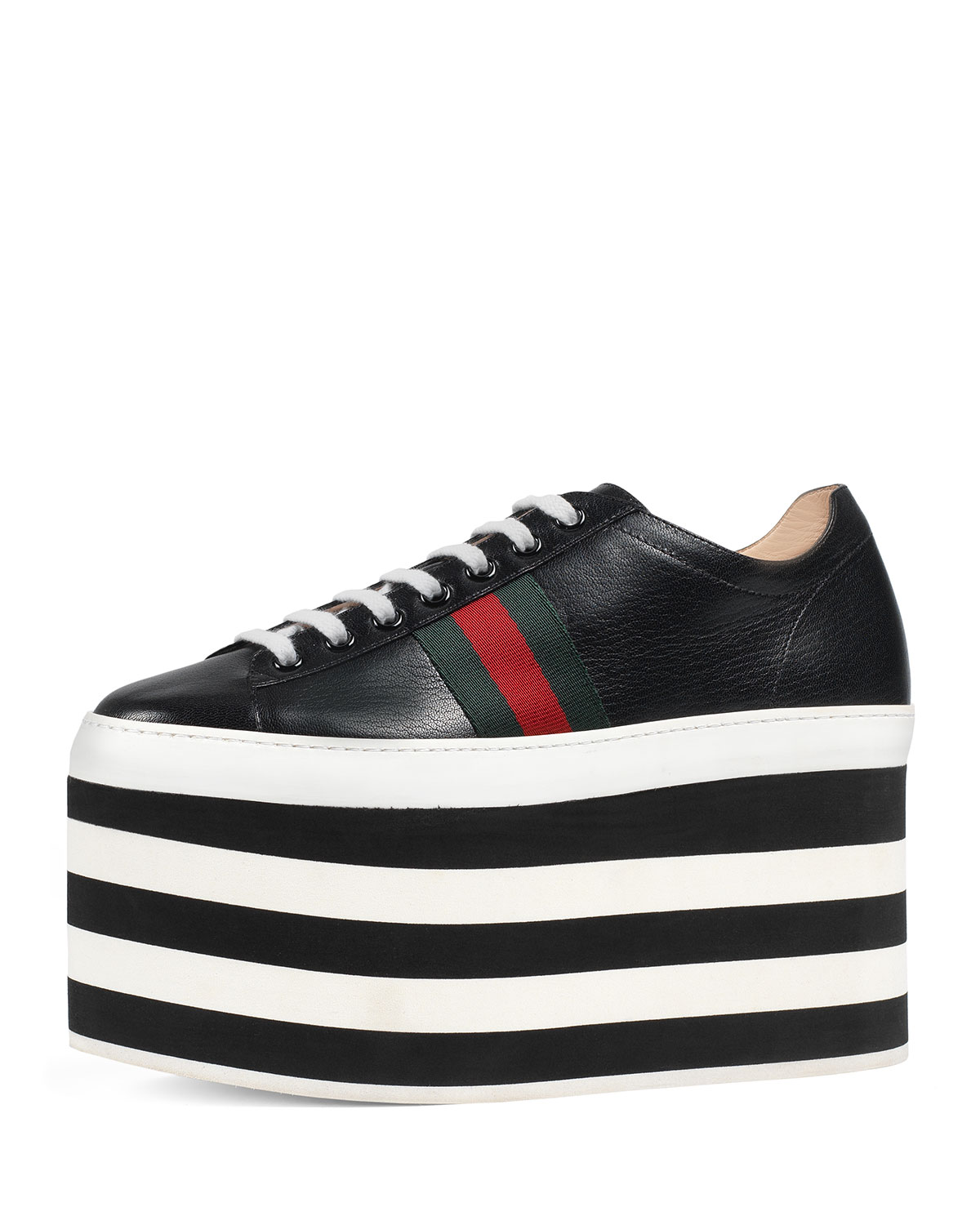 569c3ef7401 Gucci Peggy Leather Platform Sneaker