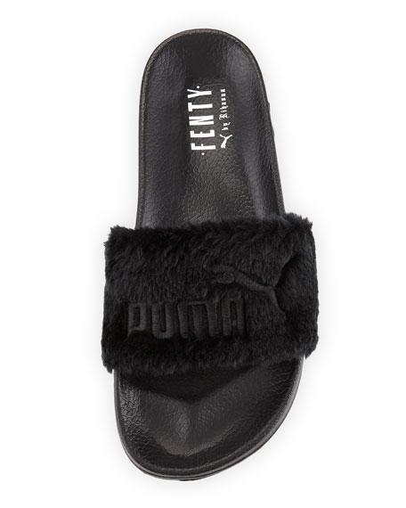 Leadcat Fenty Faux-Fur Slide Sandal, Black/Silver