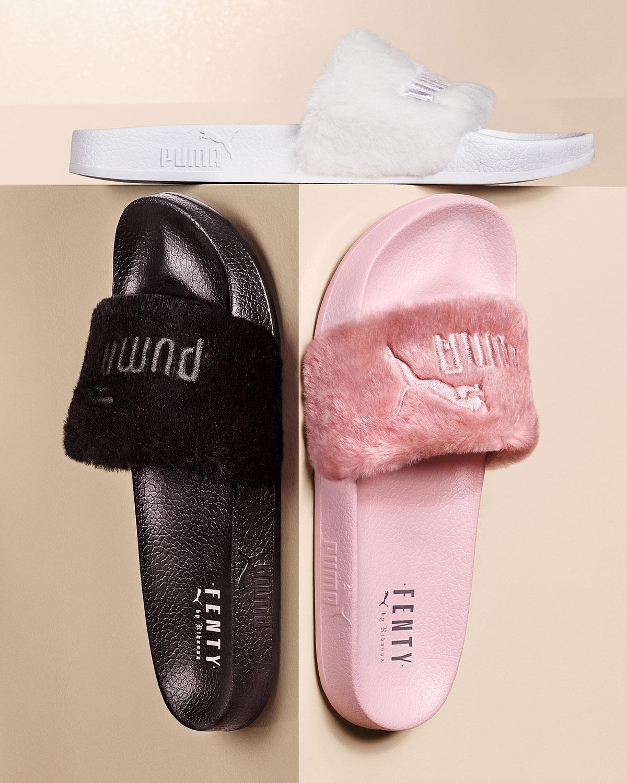 lowest price cfd49 4d8ab Leadcat Fenty Faux-Fur Slide Sandal, Black/Silver