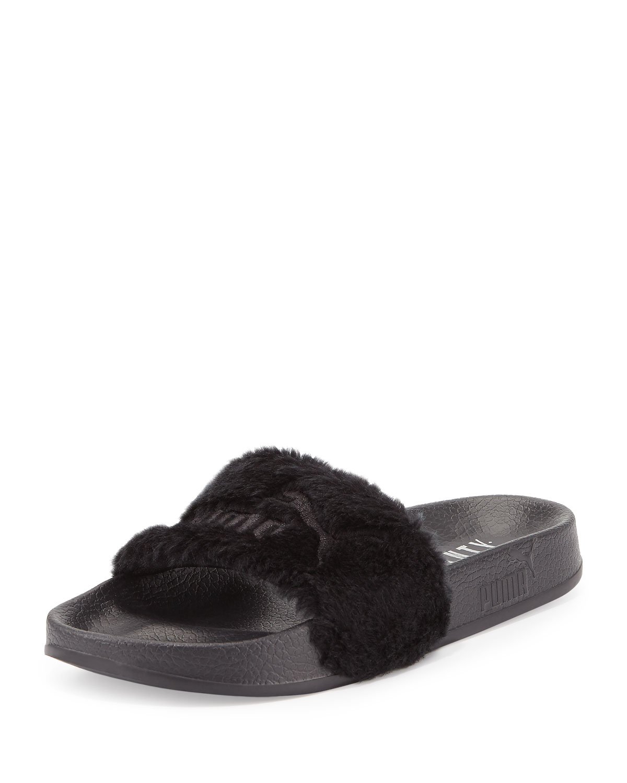 lowest price 9a5b4 2227e Leadcat Fenty Faux-Fur Slide Sandal, Black/Silver