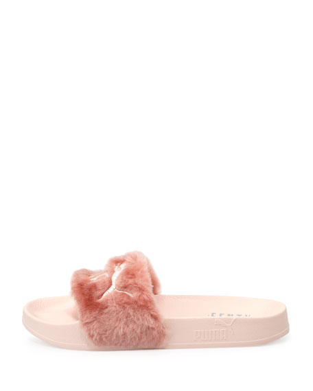 Leadcat Fenty Faux-Fur Slide Sandal, Shell/Silver