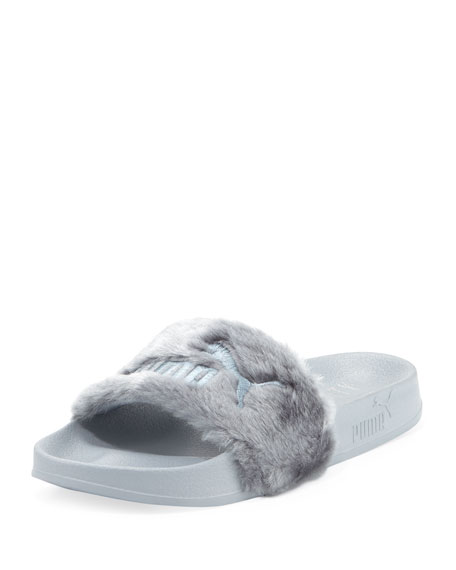 Leadcat Fenty Faux-Fur Slide Sandal, Quarry/Silver