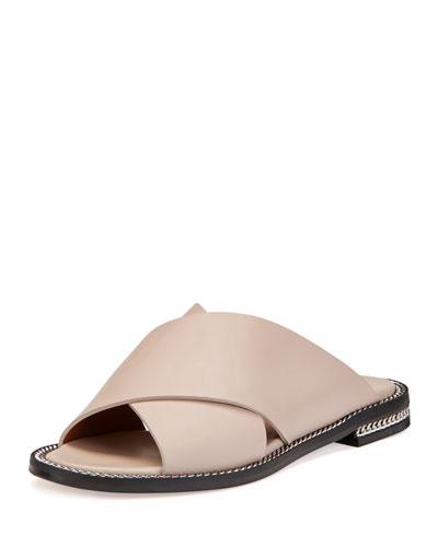 448daec929d8 Givenchy Chain-Trim Crisscross Flat Sandal