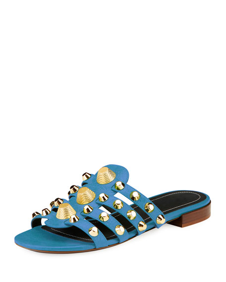 Balenciaga Studded Caged Flat Slide Sandal, Bleu Profound
