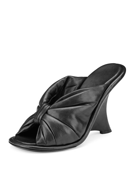 Balenciaga Bow Leather Wedge Sandal, Noir