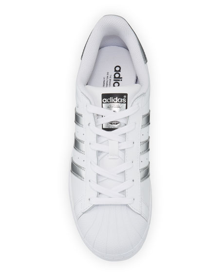 Superstar Original Fashion Sneaker, White/Silver