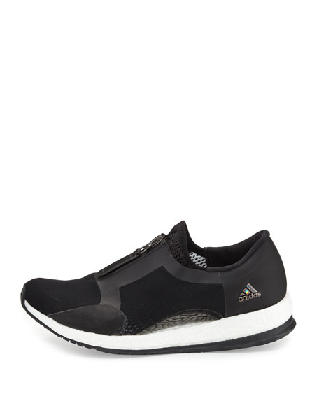 Pure Boost Zip-Front Sneaker, Black/White