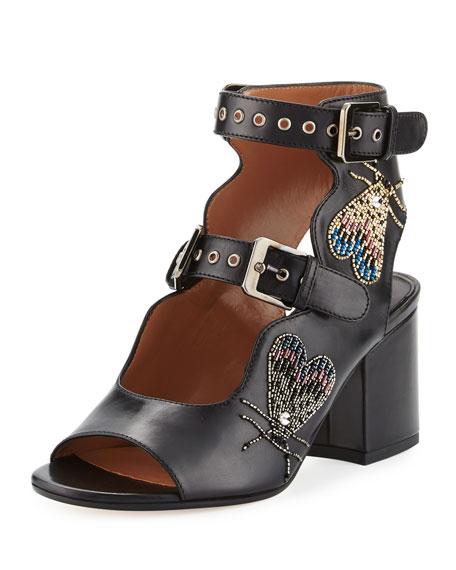 Noe Breaded Double-Buckle Sandals, Black