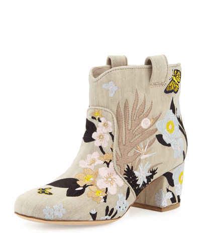 Belen Embroidered Western Ankle Boot, Beige/Pastel