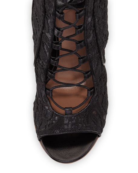 Nelly Lace Lace-Up Bootie, Black