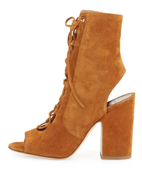 Nelly Suede Lace-Up Bootie, Camel