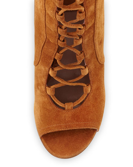 Nelly Suede Lace-Up Booties, Camel