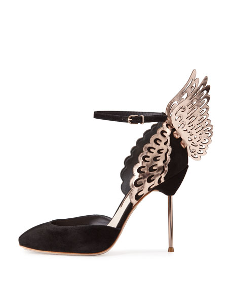 Evangeline Angel Wing d'Orsay Pump, Black/Rose Gold