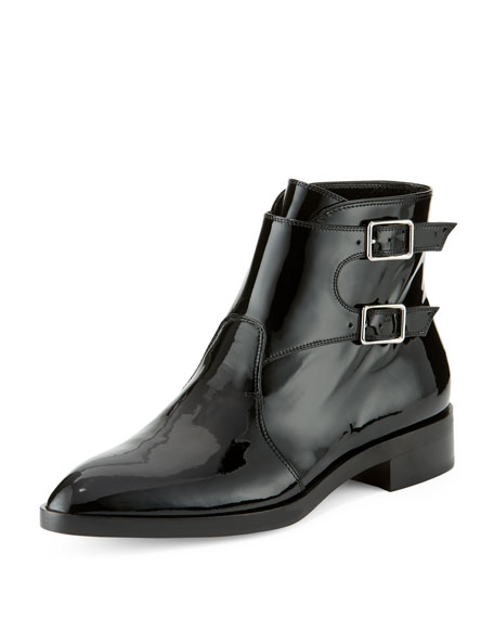 Gianvito Rossi Patent Side-Buckle Bootie, Black