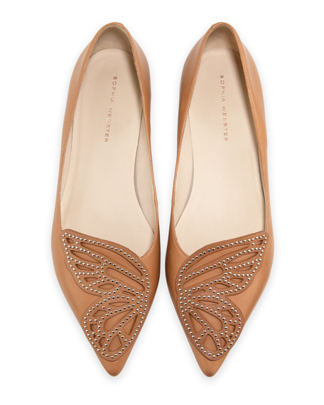 Sophia Webster Bibi Butterfly Studded Flat, Tan
