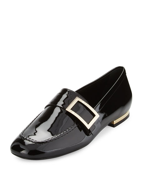 Roger Vivier Patent Leather Buckle Loafer, Black