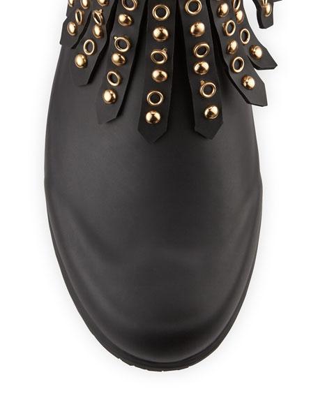 Fritton Check Studded Fringe Rain Boot, Black
