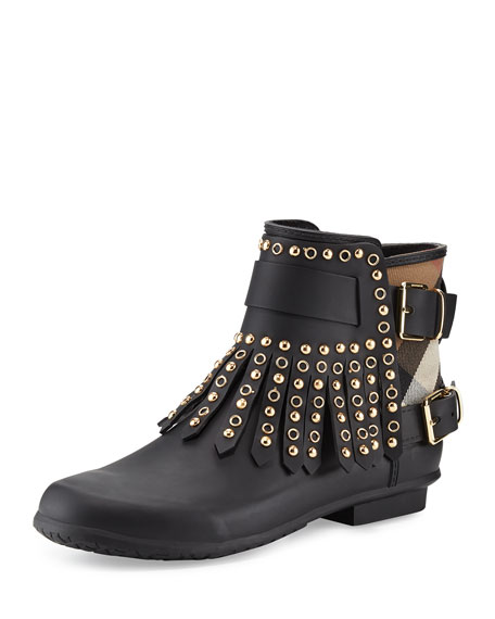 Burberry Fritton Check Studded Fringe Rain Boot, Black
